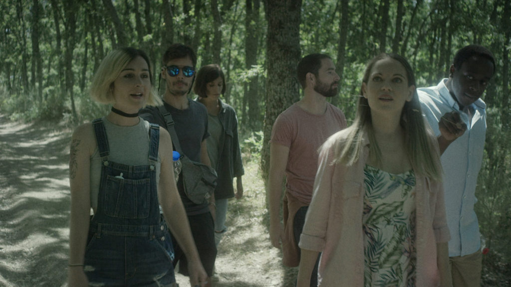 The six friends are walking in the woods.