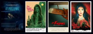 banner of it follows and love witch movie posters
