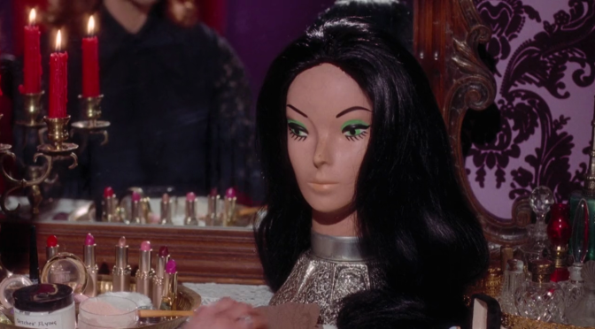 a wig and makeup table
